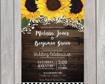 Sunflower Wedding Invite/ Save our Date/ Wedding Invitation Suite-PRINTABLE- Wood Background-Floral Rustic Wedding Invitation- Postcard RSVP