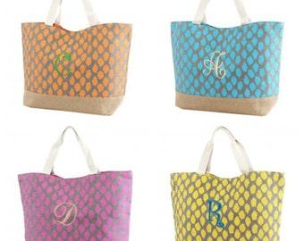 Animal Print Burlap bottom Monogrammable Tote/Beach Bag