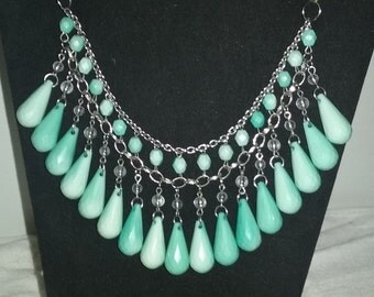 Aqua beaded bib necklace