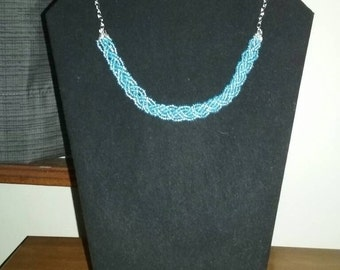 Baby blue braided bead necklace