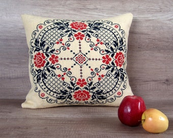 Modern Cross Stitch Pillow : Cross-stitch embroidery flower pillow cover colorful modern