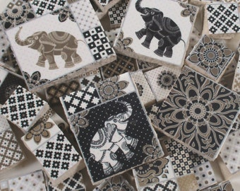 Ceramic Mosaic Tiles - Patchwork Designs And India Elephants  Mosaic Tile - 45 Pieces - For Mosaic Art / Mixed Media Art/Jewelry