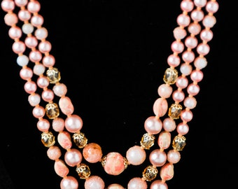 Pink Pearl and Stone Statement Necklace
