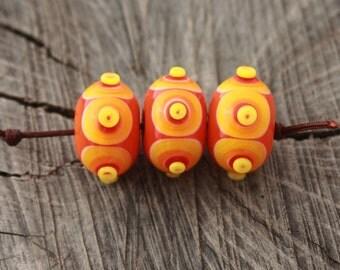 Orange Yellow Lampwork Bead Set (3)