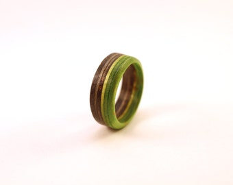 Rings made from Recycled Skateboards (Green/Black)