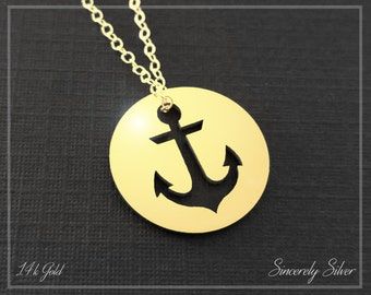 14k Gold Anchor Necklace, Nautical Necklace, Anchors Away, I Refuse To Sink Necklace, Anchor Charm, Anchor Pendant