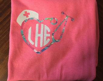Monogram Stethoscope Shirt with Nurse Hat. Lilly Pulitzer Monogram Nurse Shirt. Monogram Nurse Shirt. Stethoscope Shirt. Personalized Shirt.