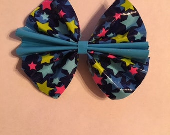 Stars and Turquoise Duct Tape Hair Bow
