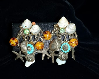 Vintage, 1960's, ART, Sea Shell, Beach Theme, Cluster, Clip Earrings