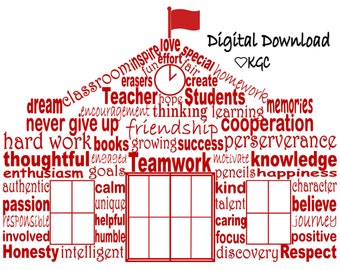 Classroom Decor, School House Word Art, Printable, Digital Download
