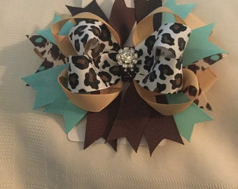 Brown and turquoise leopard print hair bow