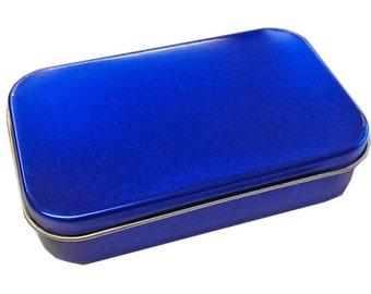24 Blue Metallic Tins - Empty