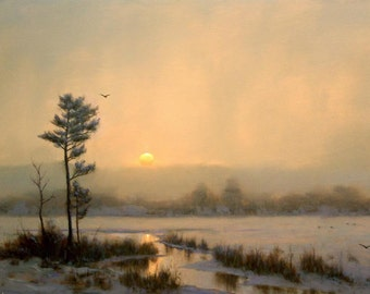 Giclee Light Snow Over Marsh Landscape Stretched Canvas Print from Original Painting signed Cape Cod Artist William R. Davis - EXCLUSIVE