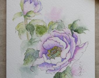 Purple Peony Watercolor Painted Card- Original or print