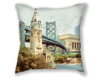 Philadelphia, PILLOW,  Philadelphia Landmarks, Philly Pillow, Philly Decor, City Hall, Ben Franklin Bridge, Boathouse Row