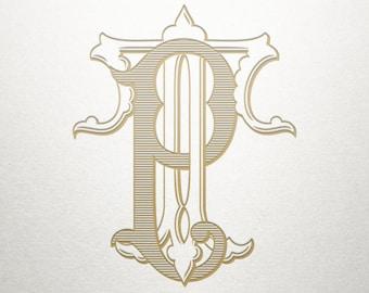 Interlocking Monogram Design - PT TP - Monogram Design - Vintage
