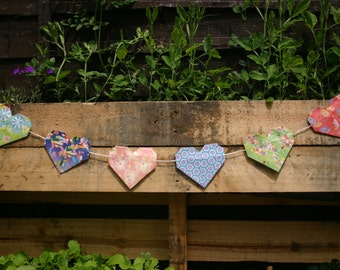Paper Heart Bunting Multi-coloured