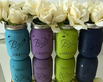 decorated mason jars, mason jar decor, shower centerpiece, hostess gift, housewarming gift, colorful jars