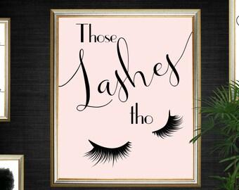 Eyelash Beauty Print - Blush Pink Printable Poster - INSTANT DOWNLOAD
