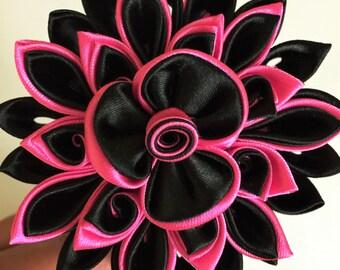 Flower Headband, Black and Pink Flower Headband for Girls