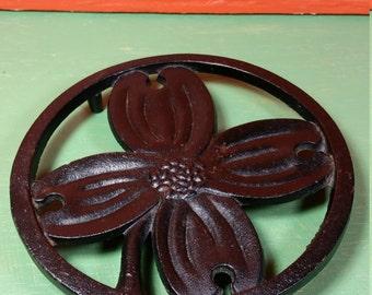 1950 Round Cast Iron H Burns Dogwood Trivet * Black Floral Hanging Footed Trivet * Kitchen Decor