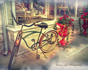 Schwinn Bike print,vintage art,old bicycle art,red decor, Town and country, Street Photography, Hudson New york, Wall Art, Wall Decor