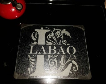 Family monogram - laser engraved glass cutting board 12inx15in