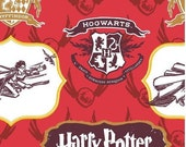 Harry Potter Crest and Logo Cotton Fabric by Camelot Fabrics
