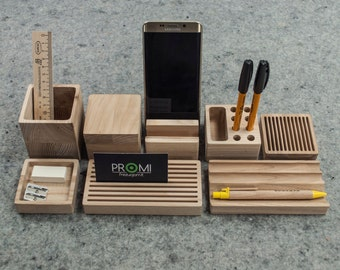 Complete desk organizer YOURSELF - Oak desk organizer - Wooden pen holder - Card and phone holder - Oak desk organiser - Father day gift
