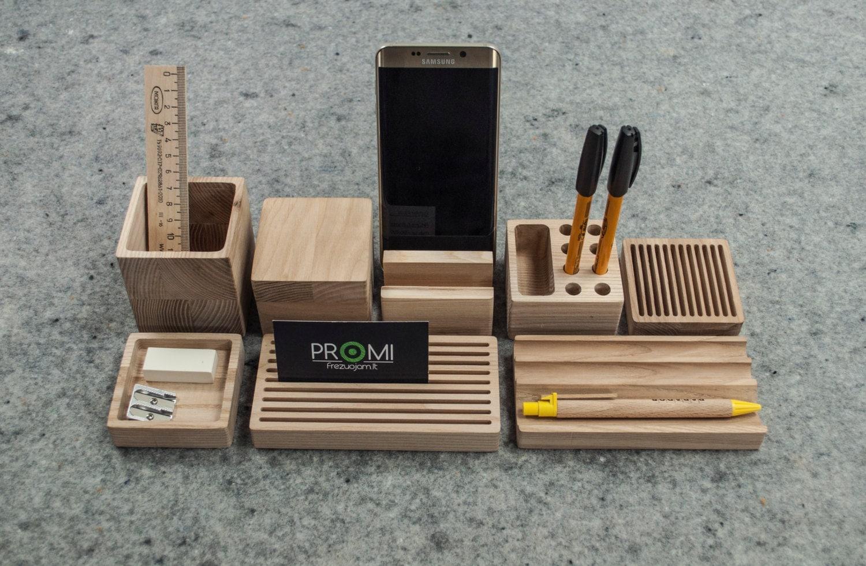 Complete desk organizer yourself oak wooden