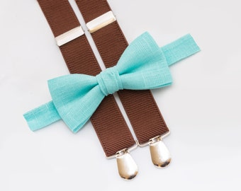 Mint Bow Tie & Brown Suspenders, Ring Bearer Outfit, Wedding Boy Bowtie