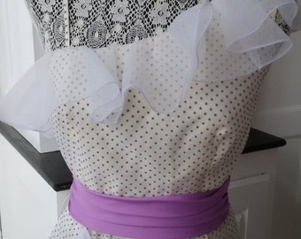 Vintage off the shoulder dream gown in white with purple accents