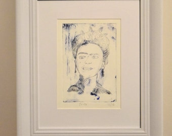 Original dry point etching Frida Kahlo print framed