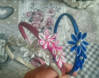 Satin headbands, kanzashi flowers, hair accessories