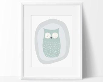 Owl Print, Scandinavian owl poster, Woodland decoration, Nursery Woodland, Baby's room owl decor, Owl printable, Nursery owl print, Kids owl