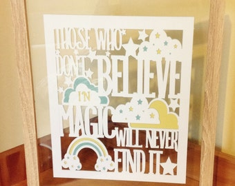Believe in Magic - Roald Dahl quote - Paper Cut Layered in Floating Frame