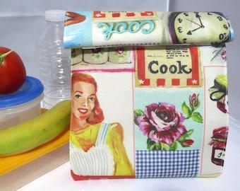"""lunch bag snack snack """"cook"""" vintage handbag bag"""