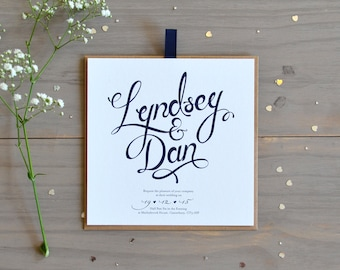Calligraphy Evening Wedding Invitation, Navy and Grey