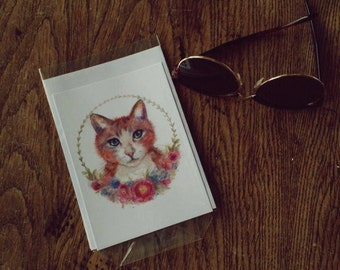 Postcard with envelope - art print cat