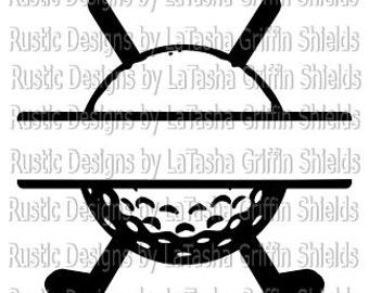 Golf Ball & Clubs Split SVG and DXF | Monogram | Last name