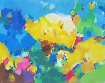 colorfull abstrat landscape drawing made with pastels