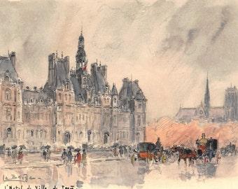 L'Hôtel de Ville à Paris — Aquarelle