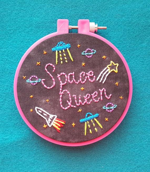 Space queen embroidery hoop art