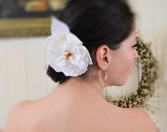 Organdy and silk bridal peony, brooch or hair pin