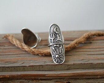 Long Native American inspired Silver Plated Ring, Bohemian Cactus Bull Skull Sun Moon Design ring, US women Ring size 6-6.7