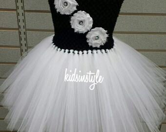 Black and White Tutu Dress, Flower Girl Dress, Baby Dress, Toddler Dress, Girl Dress