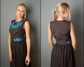 Evening Dress, Custom Evening Dress, Black Dress, Elegant Dress, Party Dress, Custom Dress, Ukrainian Dress, Embroidered Dress