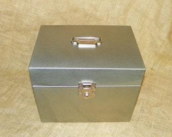 Metal File Storage Box Grey Metal with Clasp Lock, 12 Long x 10 High by 9 Deep