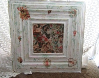 Antique Ceilling Tile with Embellished Ladies and Cherubs