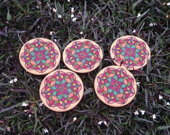 Mandala Cork coasters set of 5